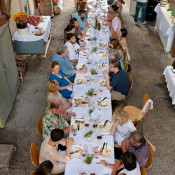 Arial view of the communal table